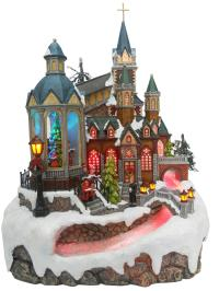 Light-up table top village. Animated light-up Christmas ...