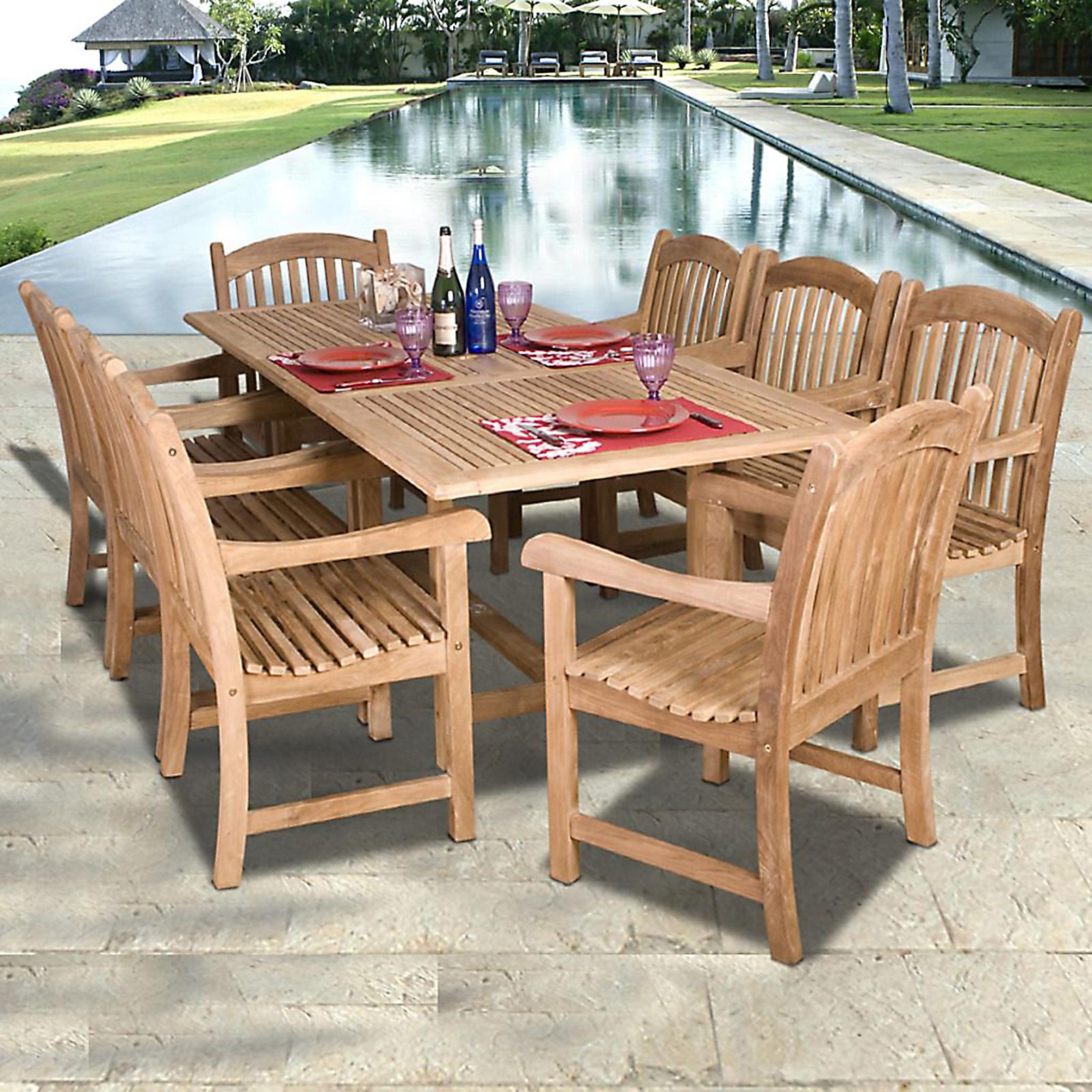 Mandalay 9 Piece Teak Wood Patio Dining Set