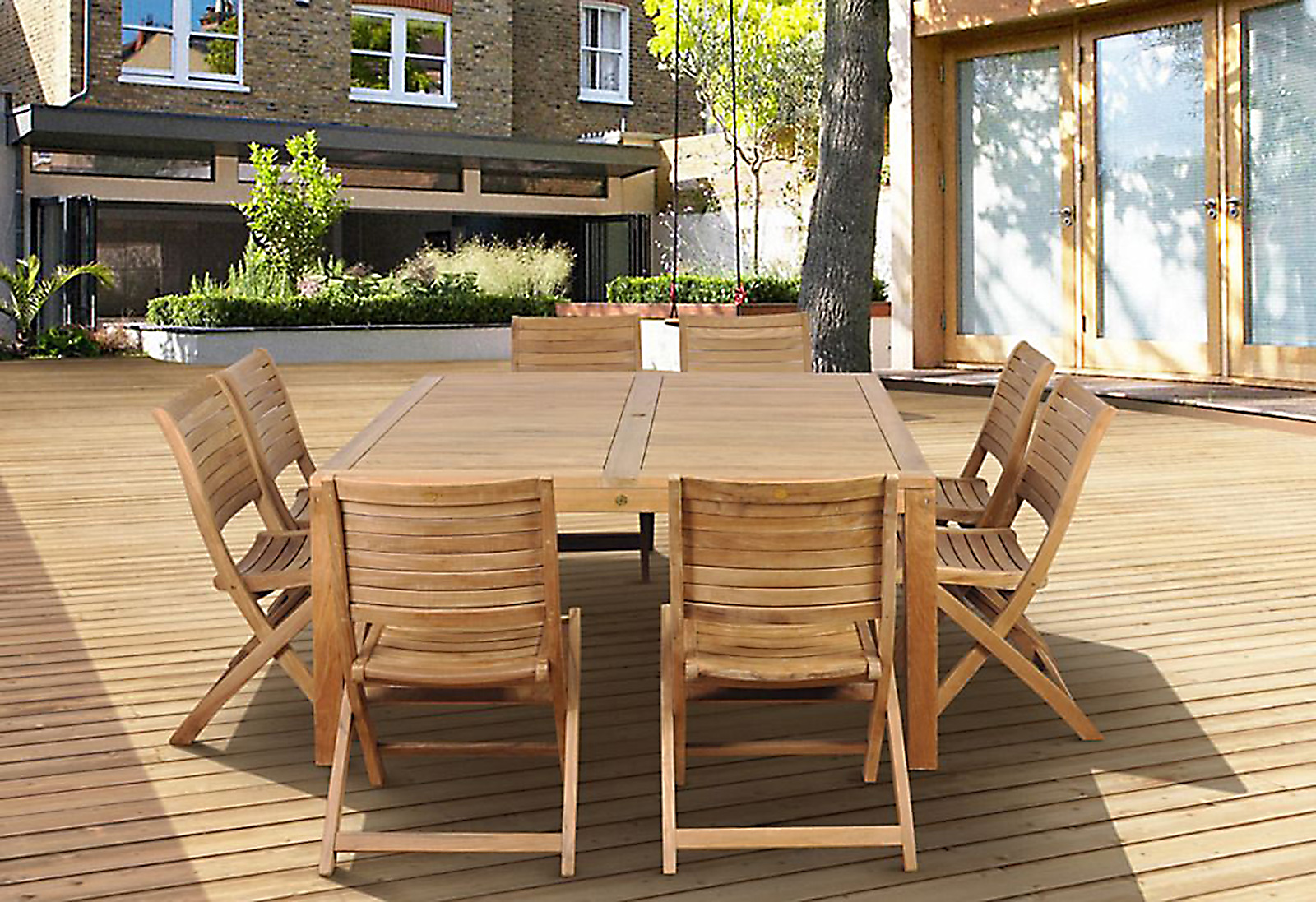 Cabana 9 Piece Square Teak Wood Patio Dining Set