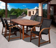 Syracuse 7 Piece Eucalyptus Wood Patio Dining Set