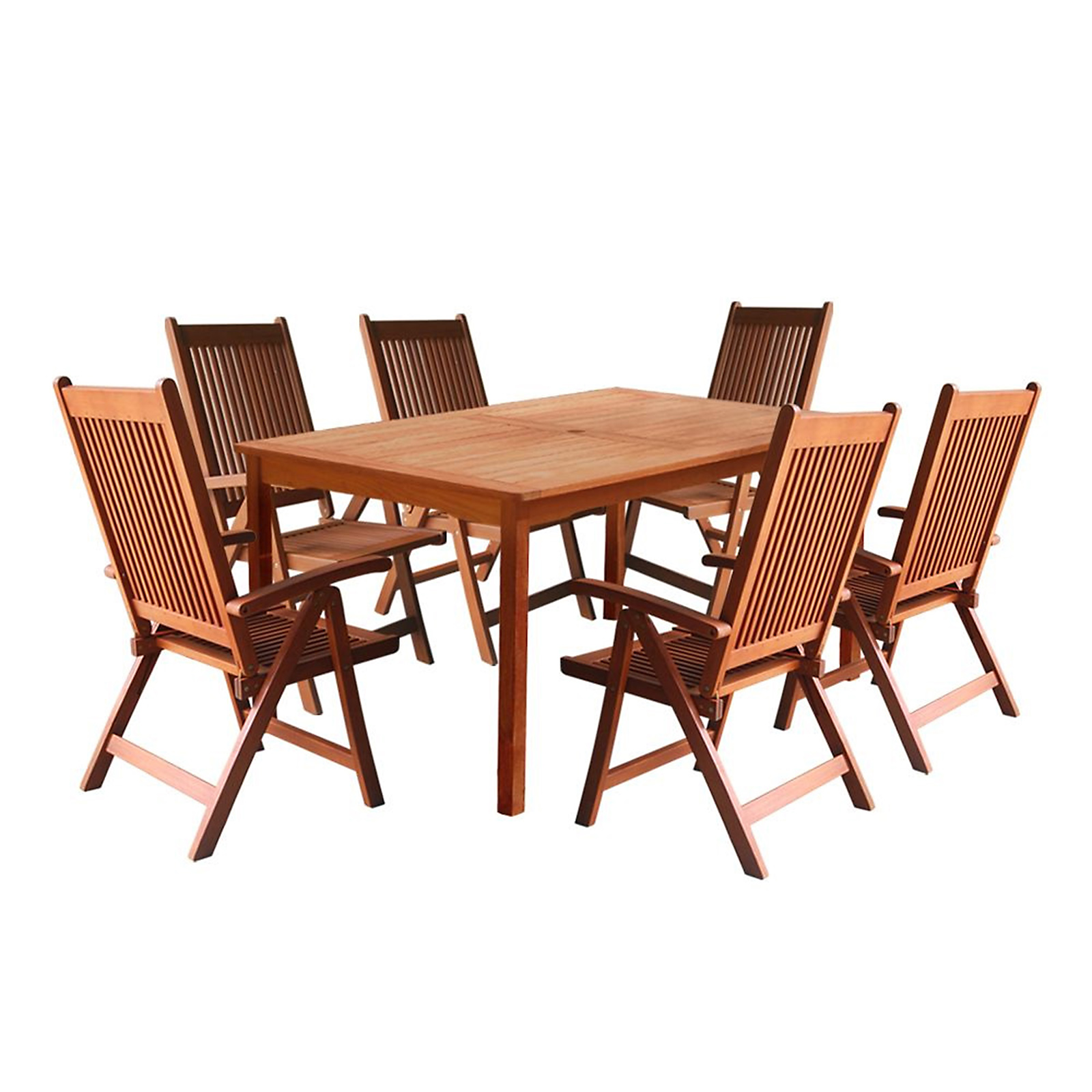 reclining patio chairs and table dark green chair cushions vifah balthazar 7pc dining set with 5 foot 6