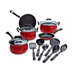 Calphalon Kitchen Essentials Stainless Steel Frigidaire Gallery Package Essential Home 14 Piece Red Non Stick Cookware Set Shop