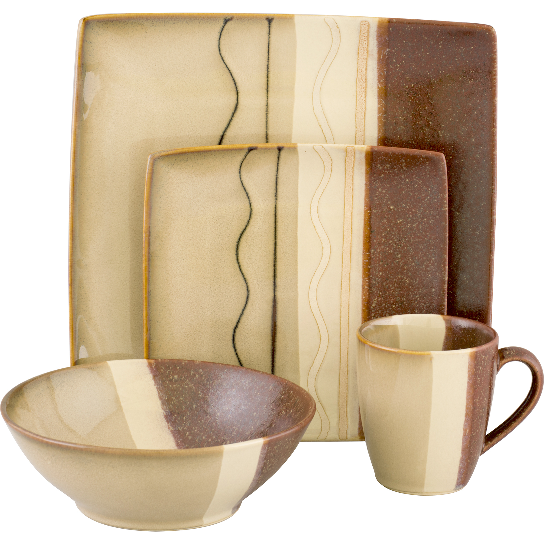 SANGO Zanzibar Brown 16 piece Dinnerware Set