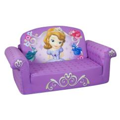Disney Flip Open Sofa Bed Lazy Boy Reclining Warranty Marshmallow Fun Co Children S Upholstered 2 In 1 Sofia The First