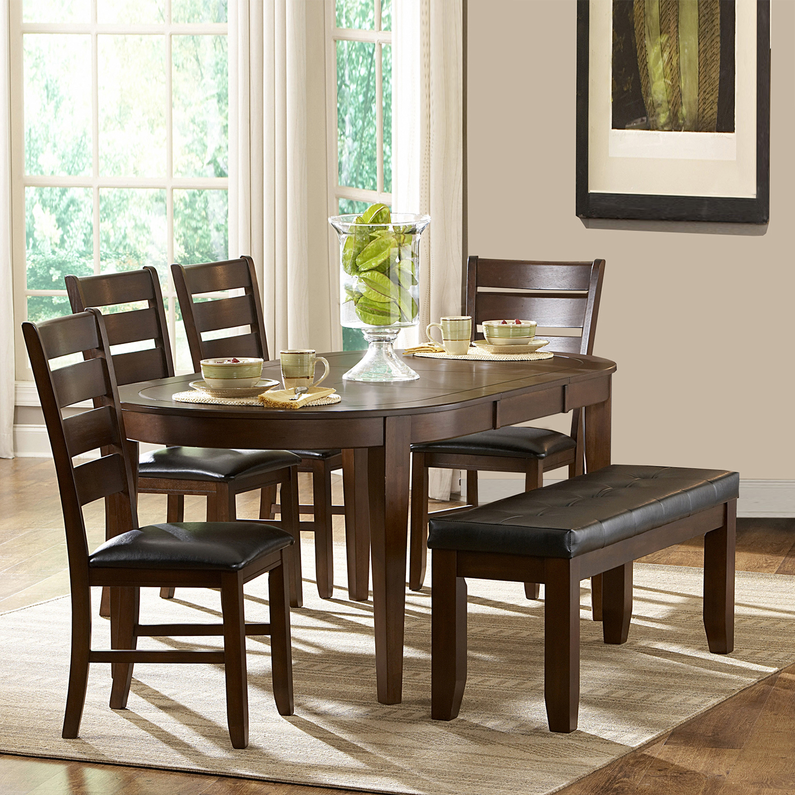 kitchen table with leaf insert best quality faucets oxford creek albany 6 piece oval shape dining set home