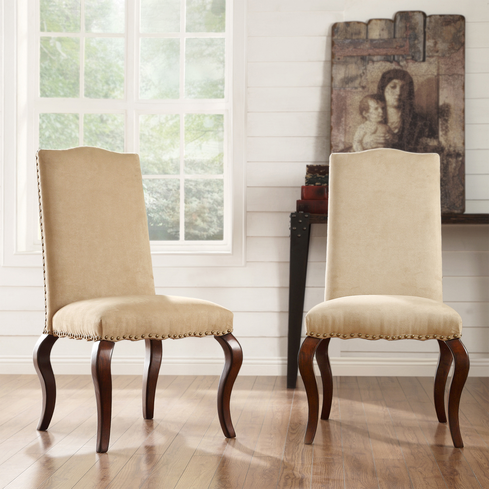 nailhead upholstered dining chair dental assistant chairs oxford creek valentino peat microfiber