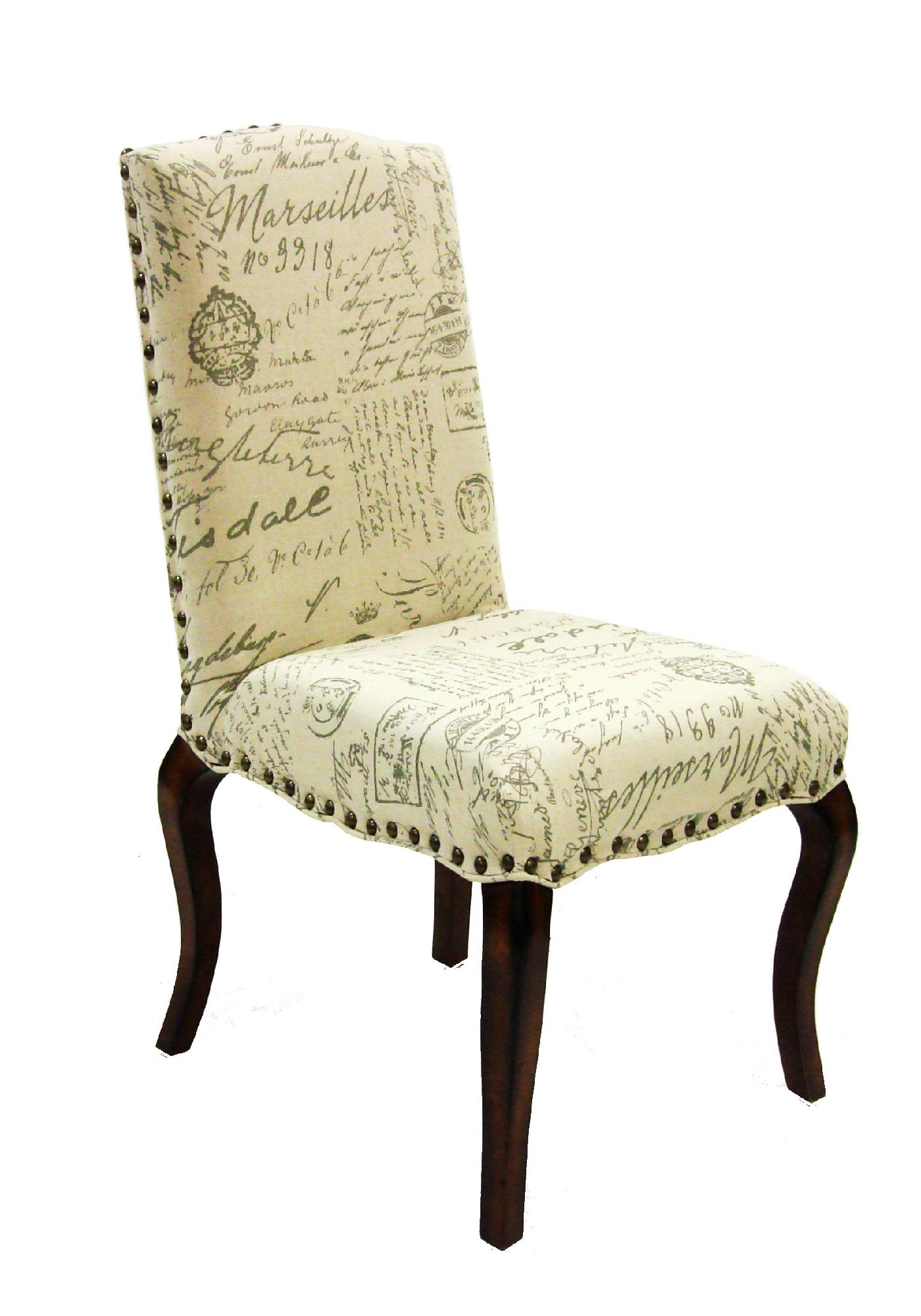 French Script Chair Armen Madeleine 3161 Vintage French Fabric Script Chair