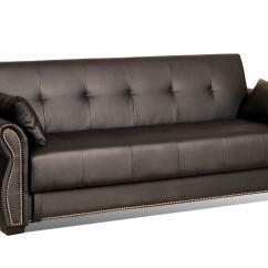 Serta Bonded Leather Convertible Sofa Lavelle Melange Wood Trim Tufted Dream Asti Java Home Furniture