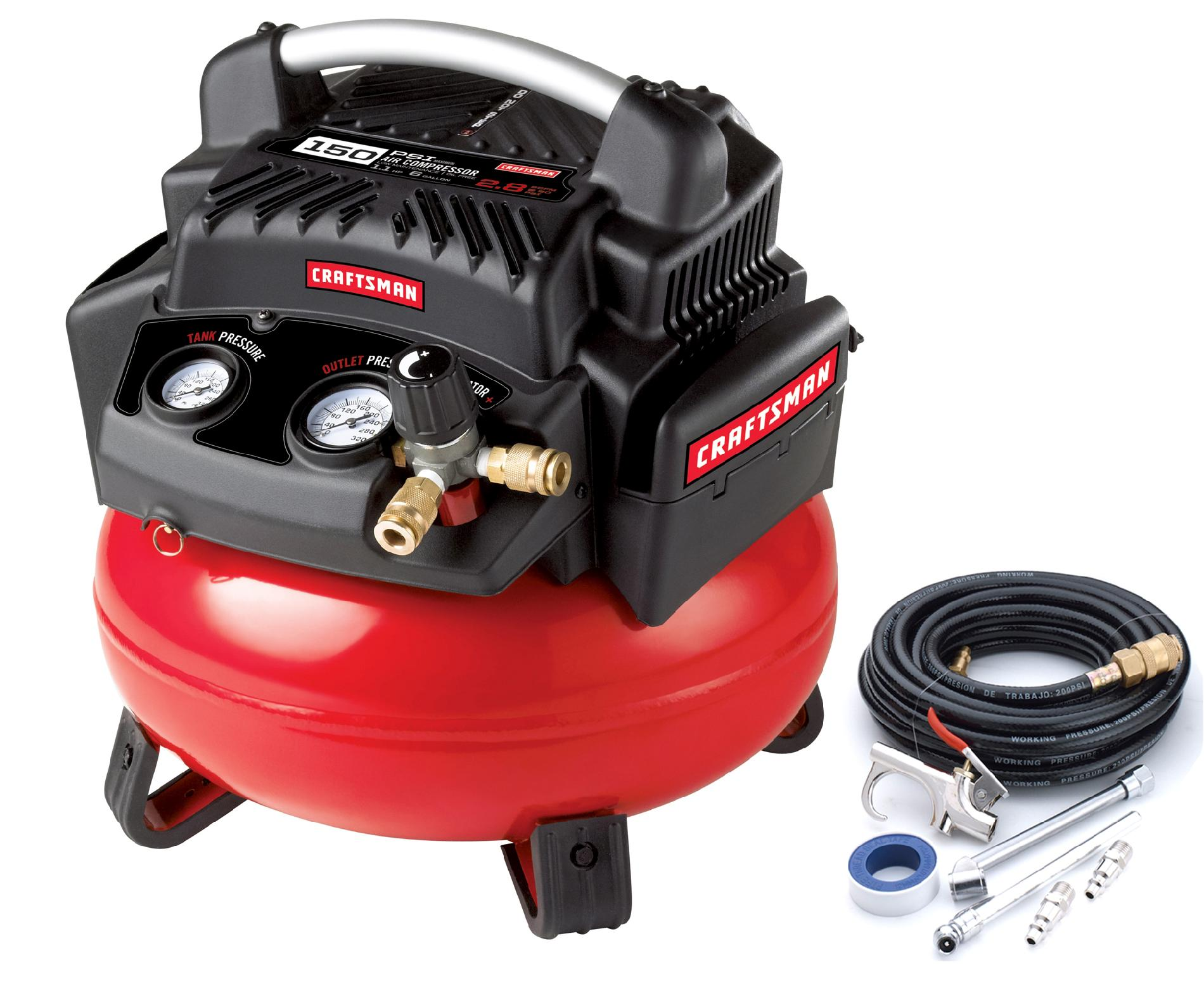 Craftsman 6 Gallon 1.1 Hp Oil-free Pancake Compressor 150