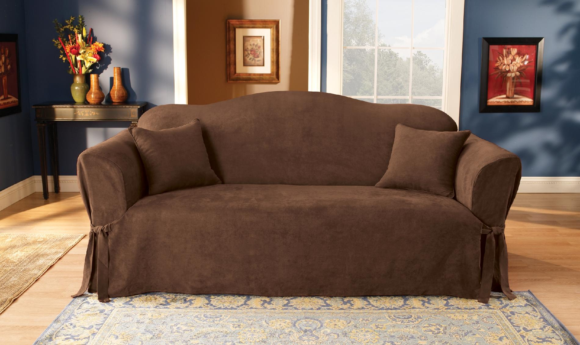 sure fit soft suede sofa slipcover capri art van furniture cover chocolate home