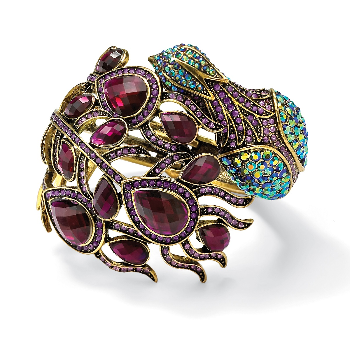 Palmbeach Jewelry Multi-color Crystal Peacock Hinged