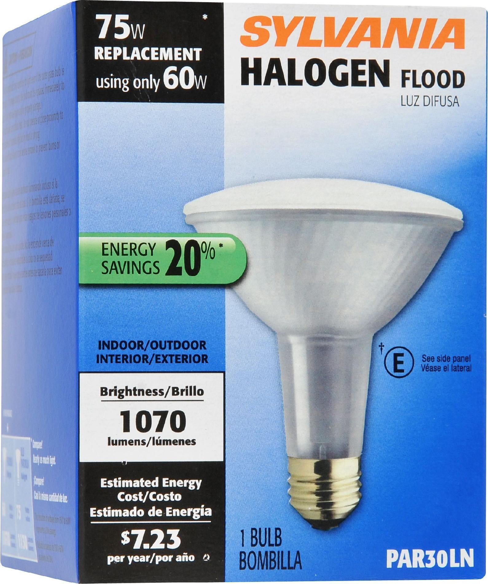 Sylvania Halogen Silver Wide Flood Lamp PAR30LNMedium