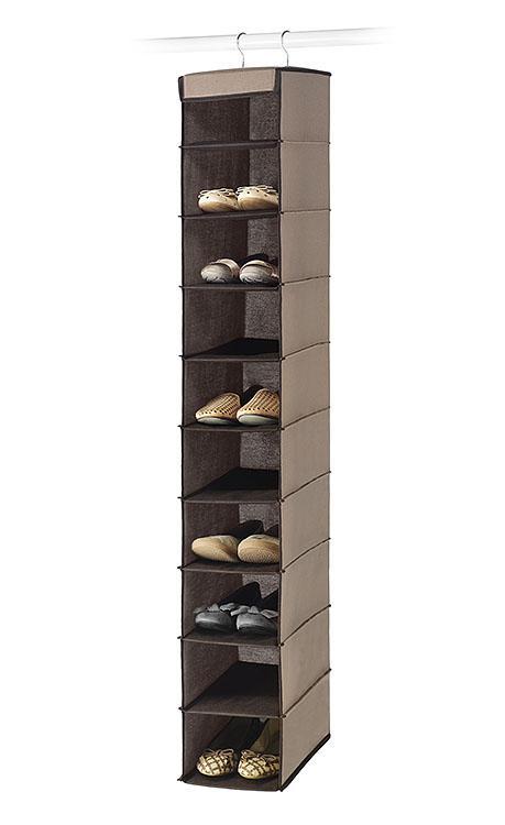 Essential Home 10 Shelf Hanging Shoe Organizer