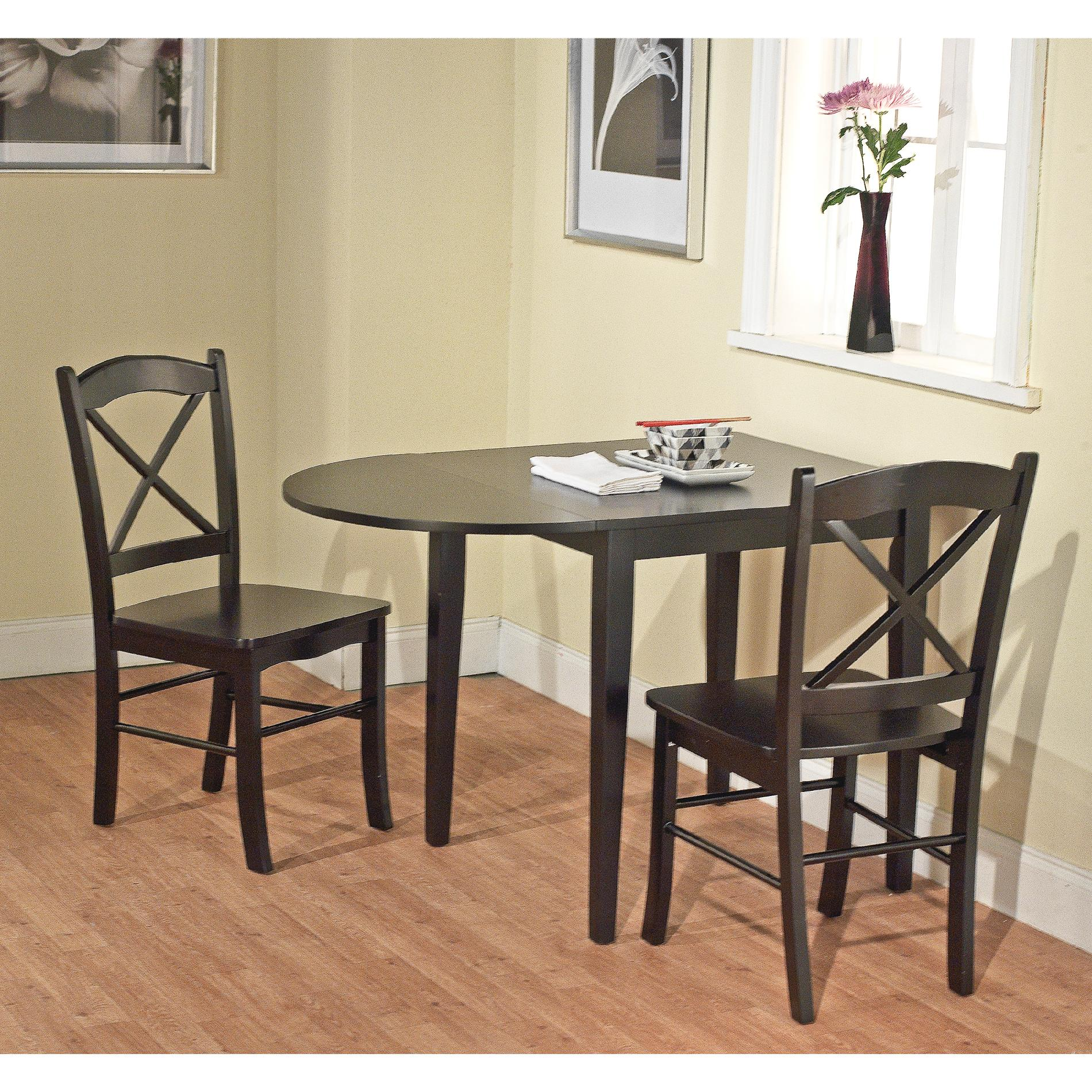 Small Drop Leaf Table With 2 Chairs 3pc Tiffany Drop Leaf Dining Set