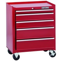"Craftsman Home Series 26"" 5-Drawer Rolling Cabinet - Red"