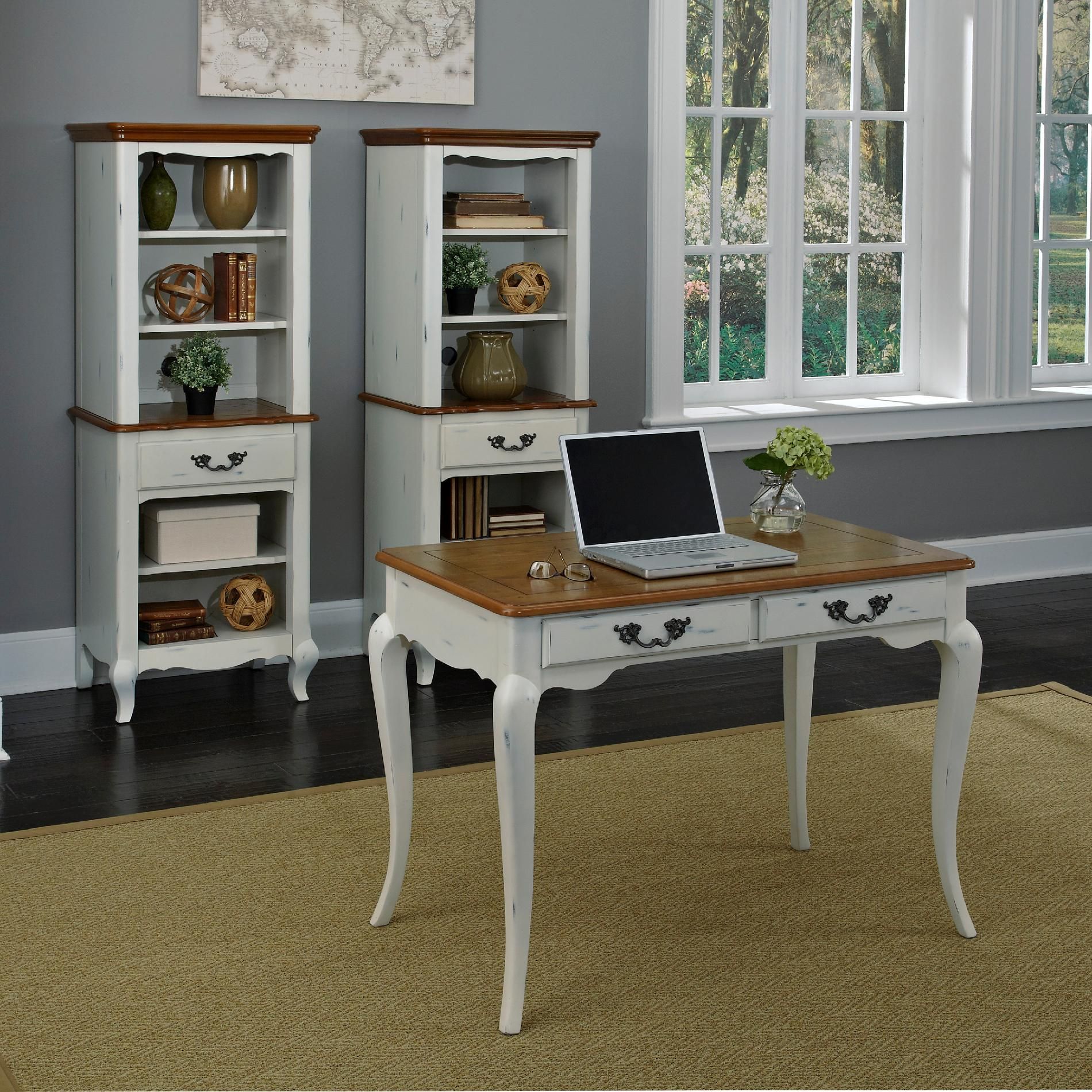 Home Styles Oak And Rubbed White French Countryside Student Desk