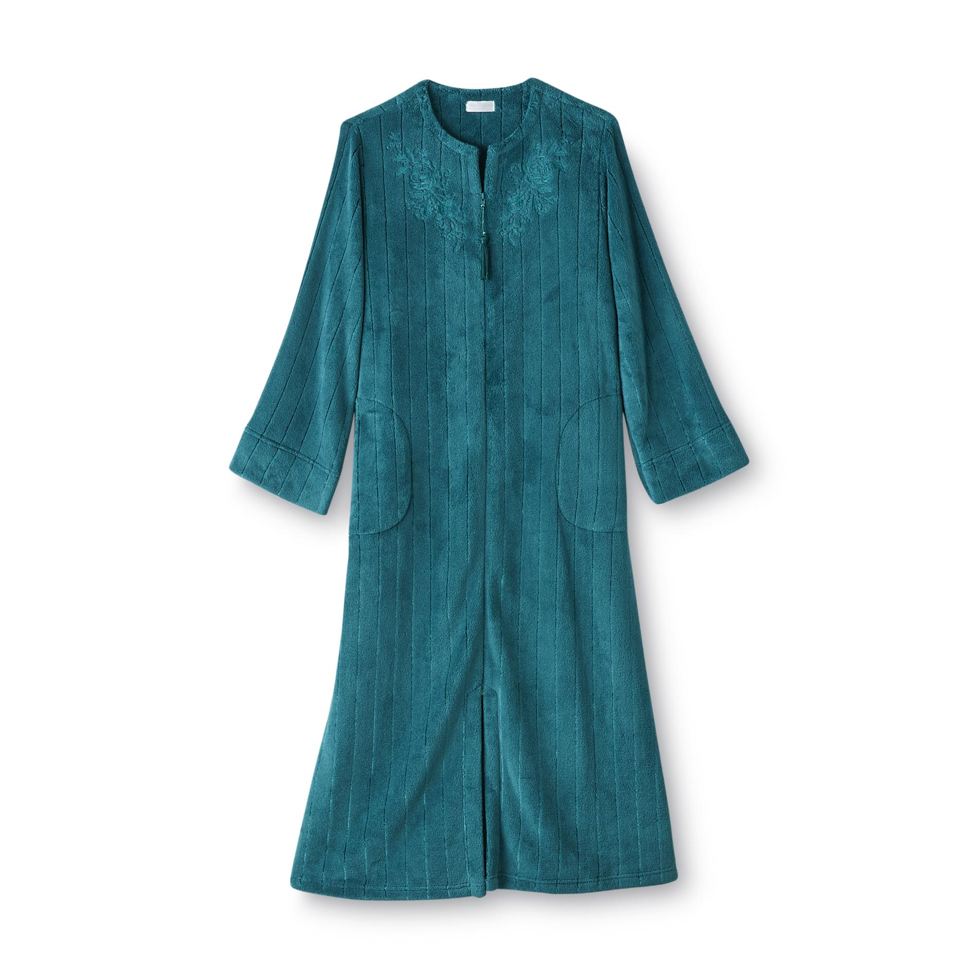 Heavenly Bodies By Miss Elaine Womens Plush Zip Front Robe