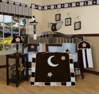 GEENNY Blue Brown Moon & Star 13PCS Crib Bedding Set