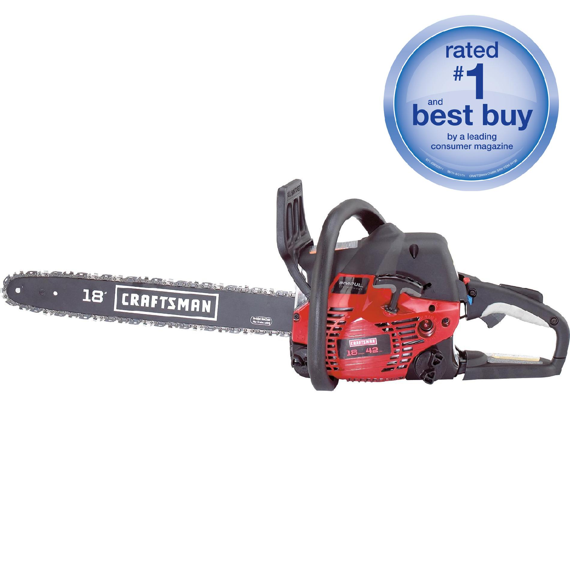 hight resolution of craftsman 42cc 2 cycle 18 gas chainsaw with case