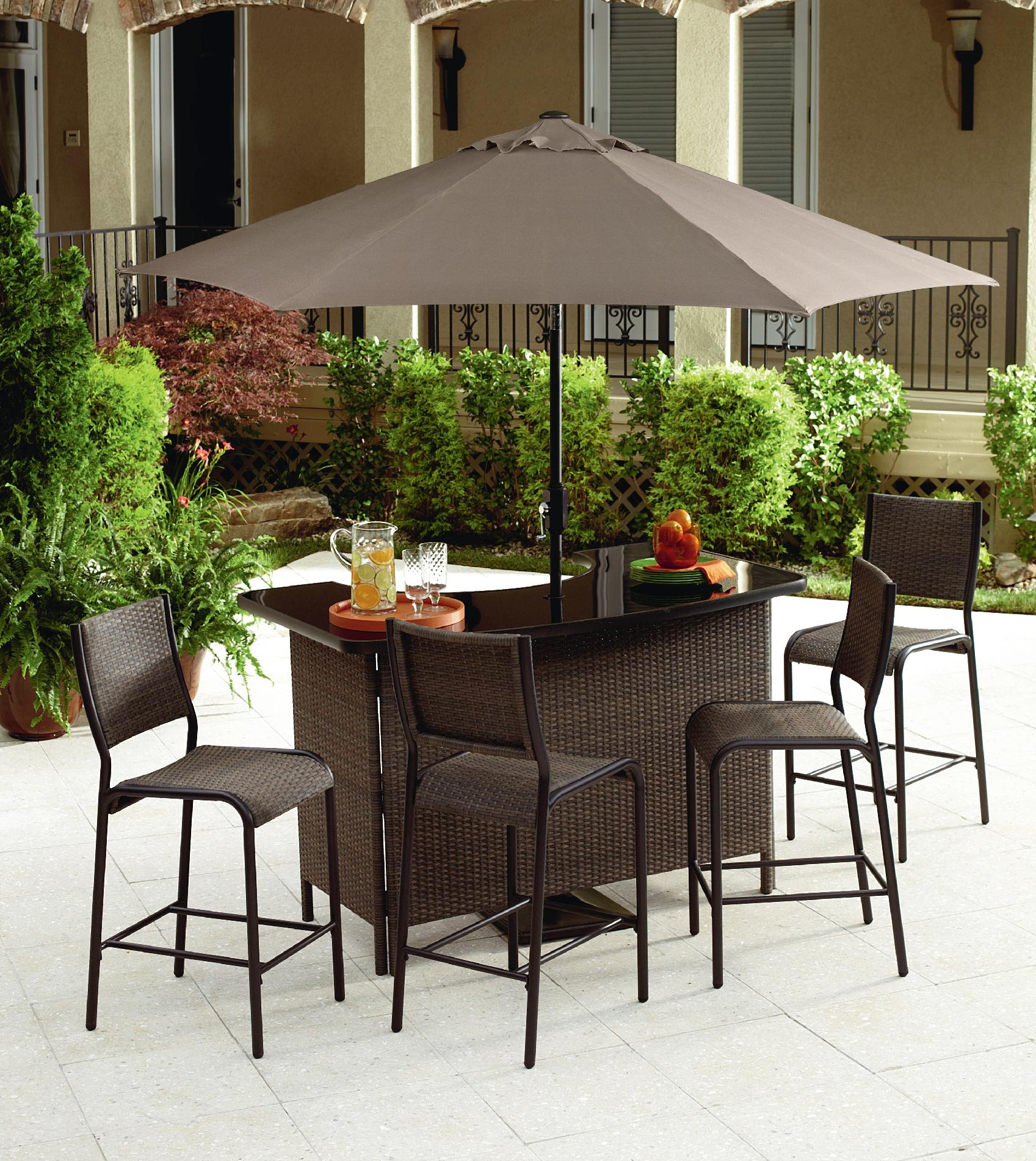 Grand Resort Wilton 5 Piece Bar Set Limited Availability - Outdoor Living Patio Furniture