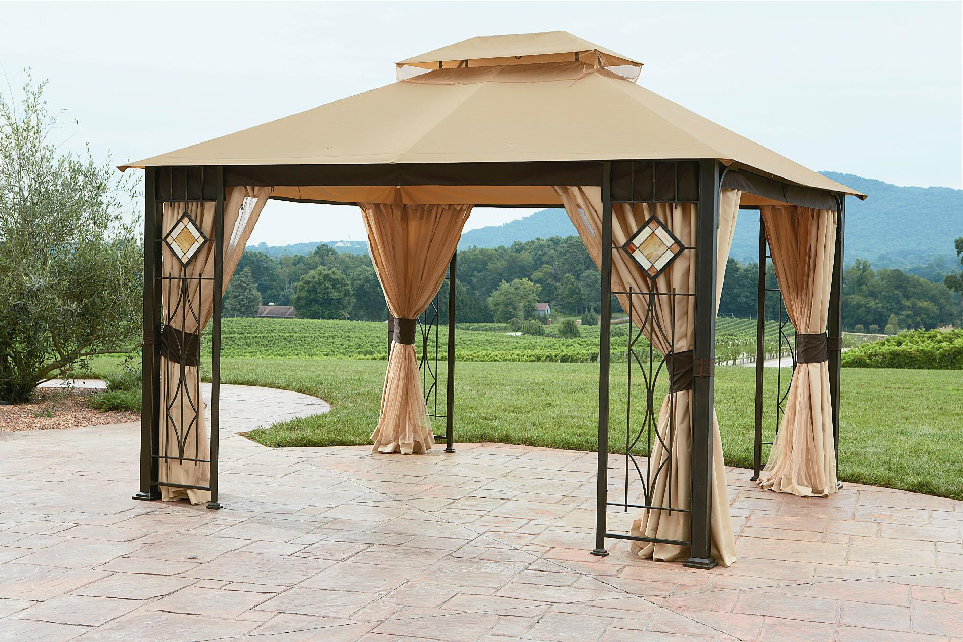 Grand Resort 10x12 Gazebo With Art Glass Panels Limited Availability