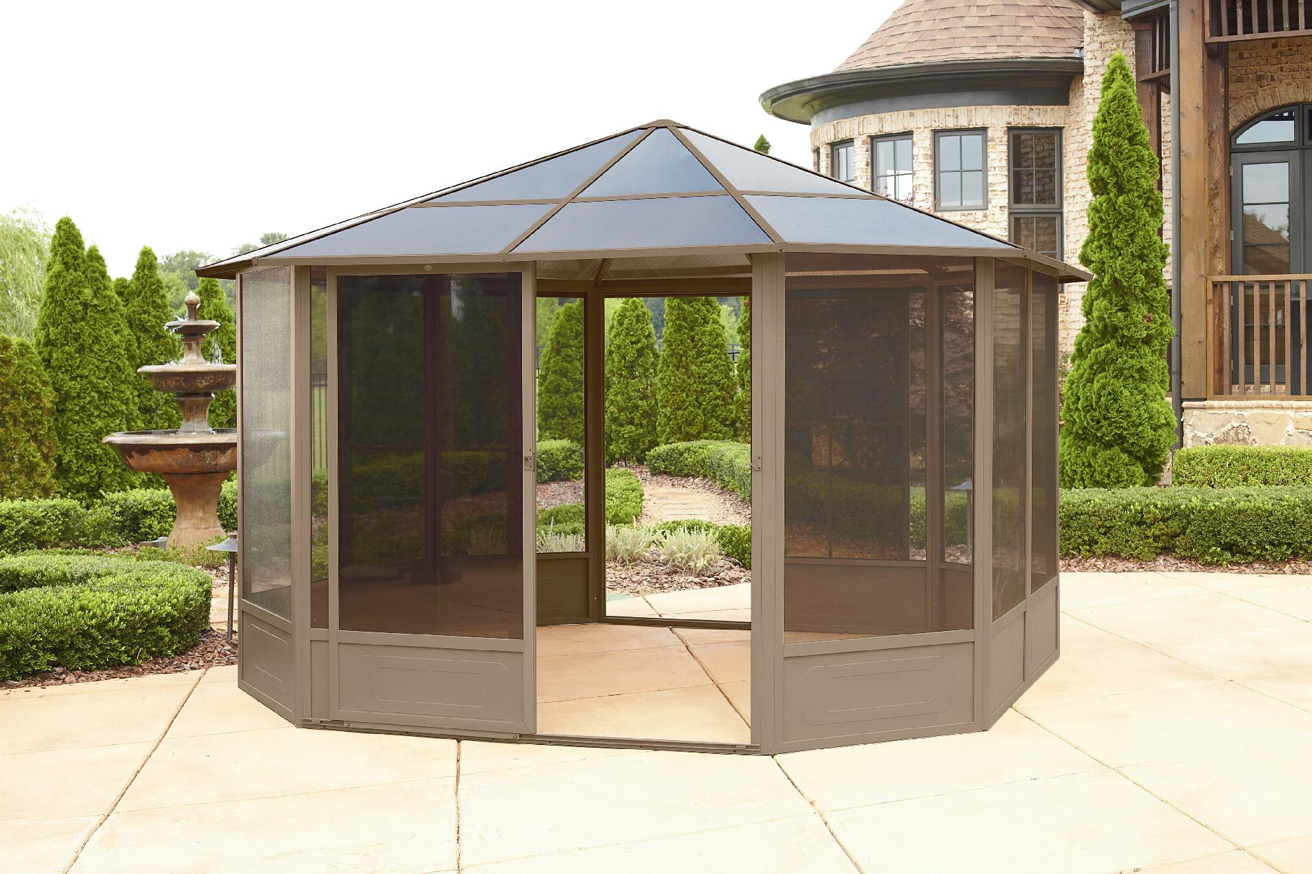Grand Resort 12x12 Hardtop Solarium Limited Availability - Outdoor Living Gazebos Canopies