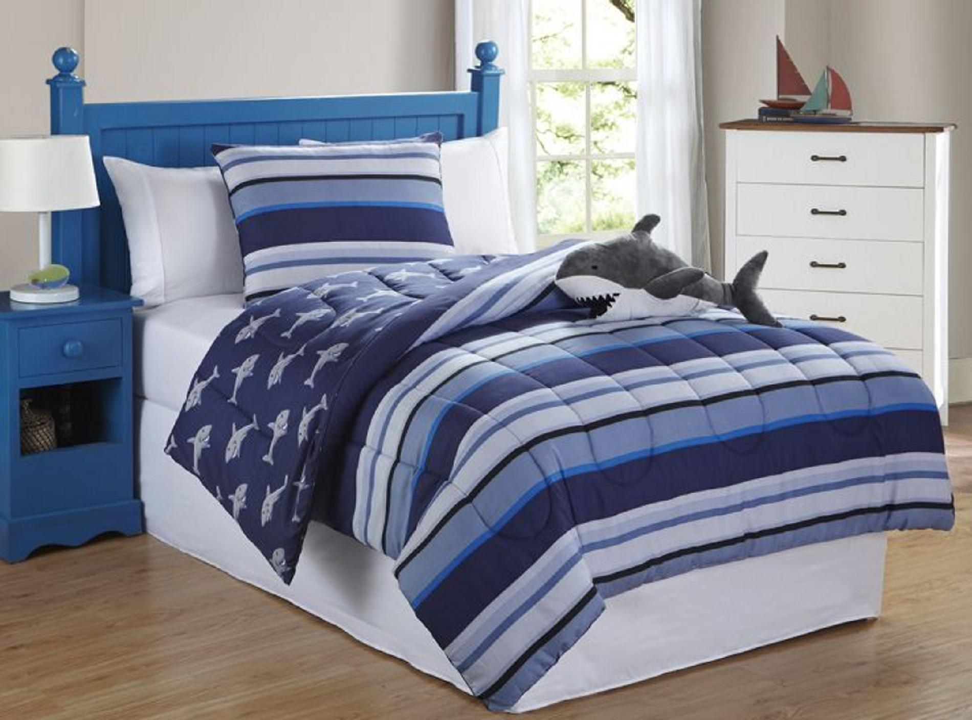 Furry Friends Shark Stripe 3 Piece Comforter Set