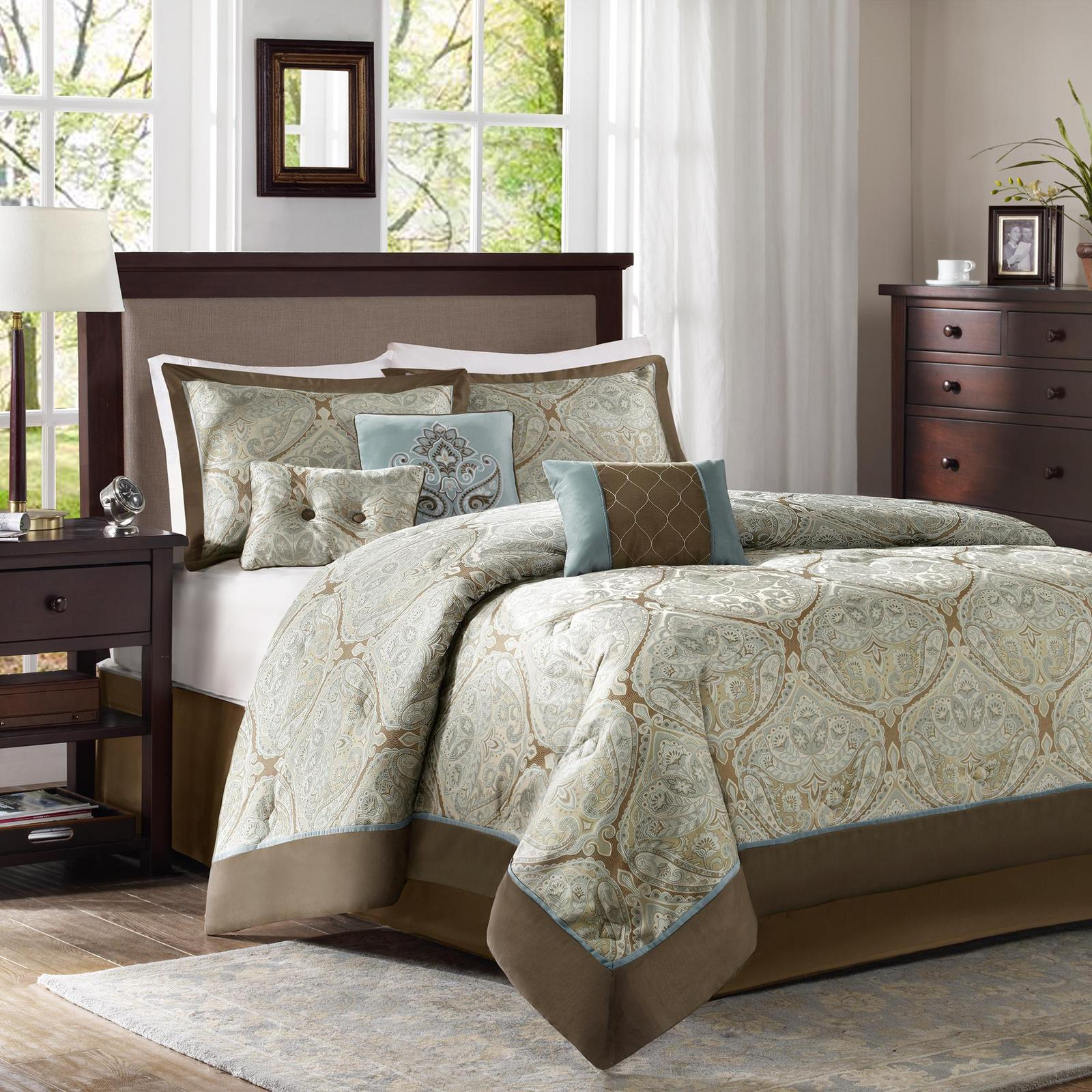 Colormate 6-piece Blue And Brown Filmore Jacquard Bedding