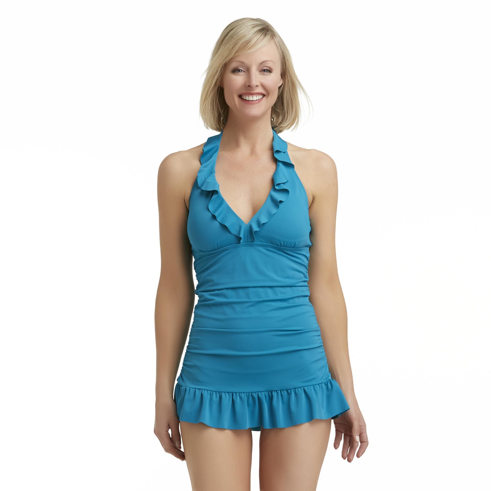 Jaclyn Smith Women39s Ruffled Swim Dress