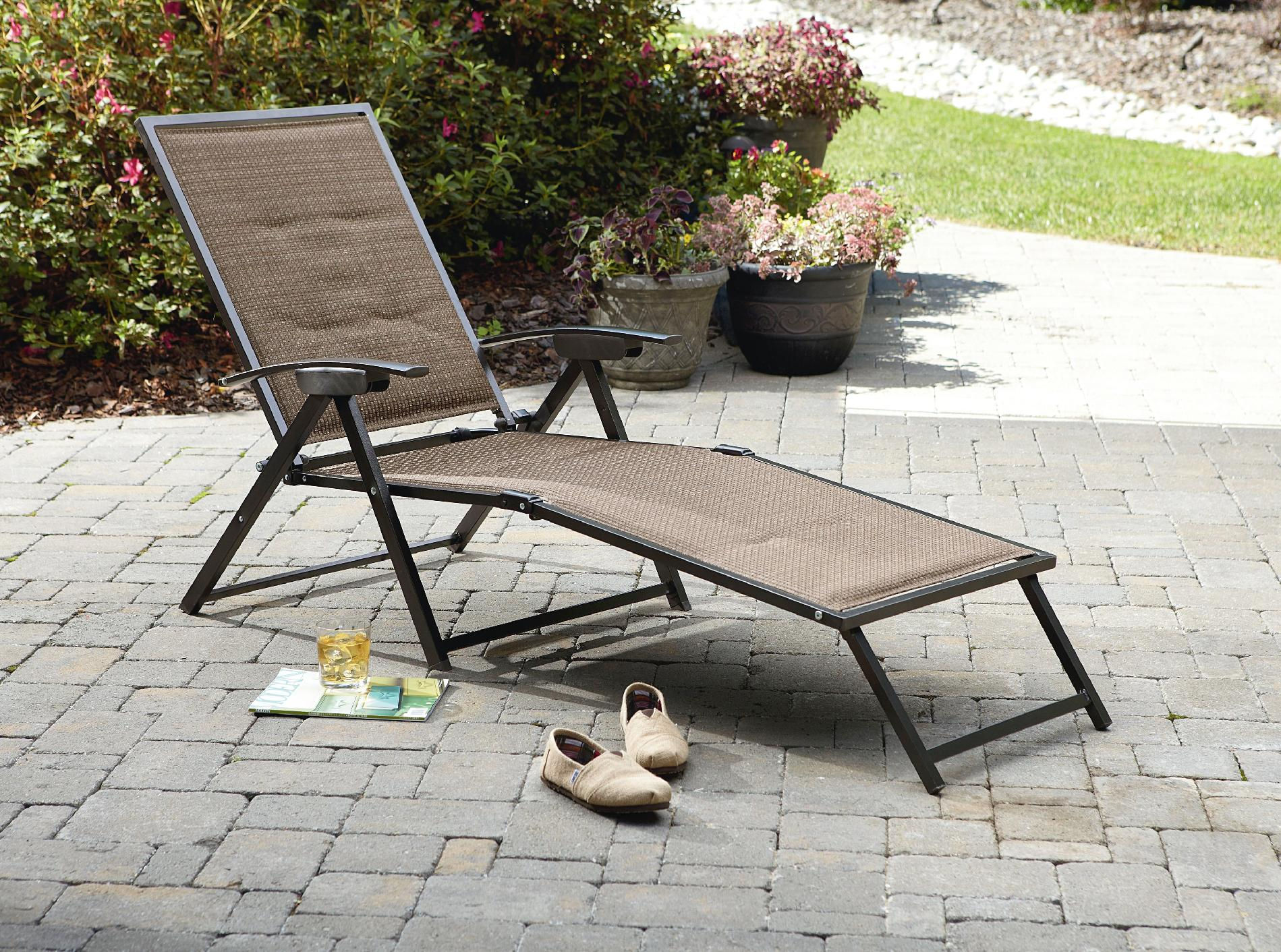 Sling Chaise Lounge Chair Garden Oasis Harrison Matching Folding Padded Sling Chaise