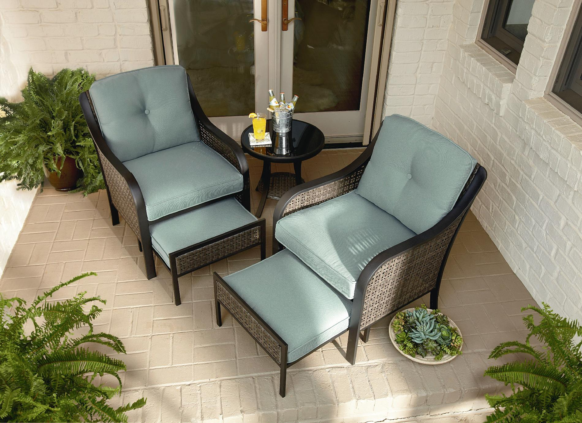 Patio Chairs With Ottoman Garden Oasis Nichols 5pc Mixed Media Seating With Pull Out