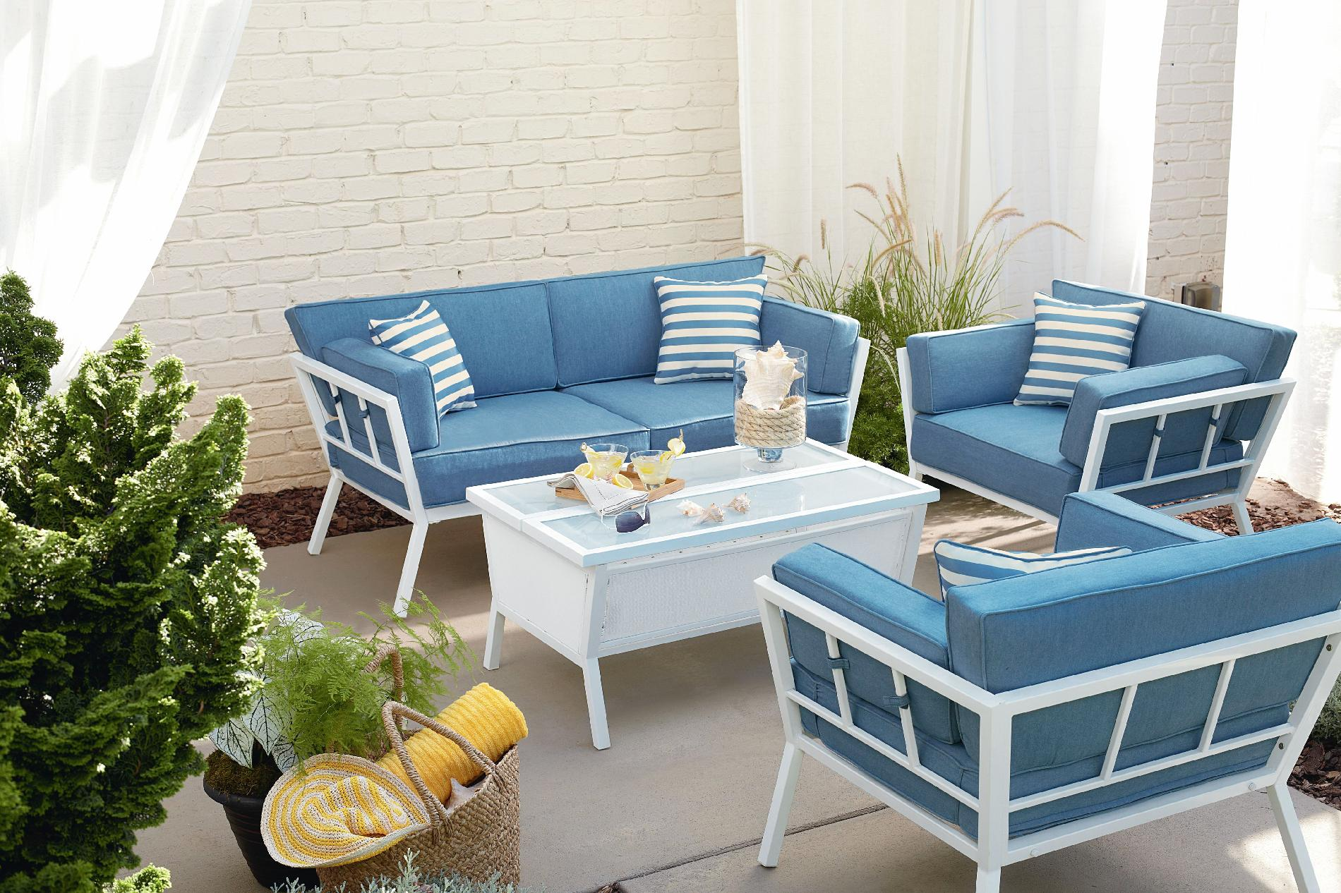 oversized patio chair cushions pottery barn baby cover ty pennington style naples 4pc seating set with articulating coffee table*
