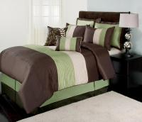 The Great Find Green, Brown and White Boston Bedding Set ...