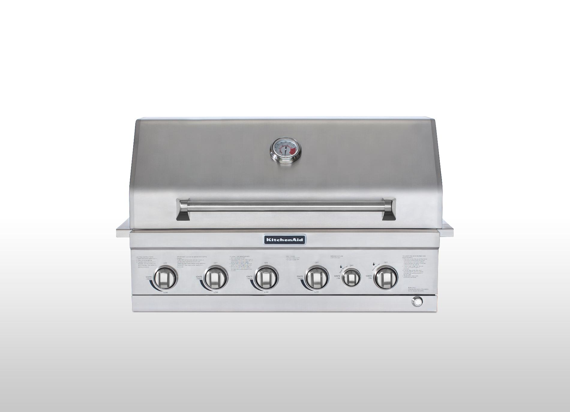 kitchen aid gas grills best undermount sinks kitchenaid 36 4 burner built in grill with ceramic searing and rotisserie