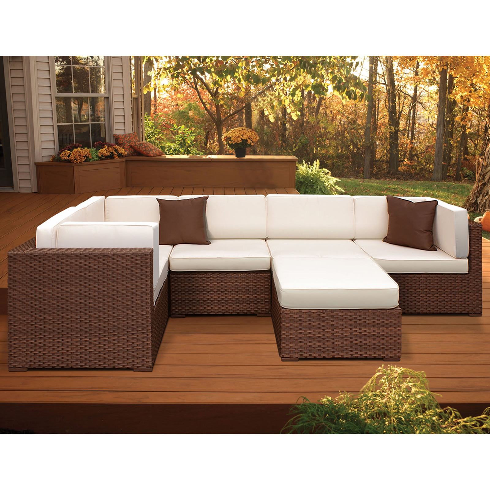 off white sofa sets england furniture company atlantic hampton 6 piece synthetic wicker brown sectional
