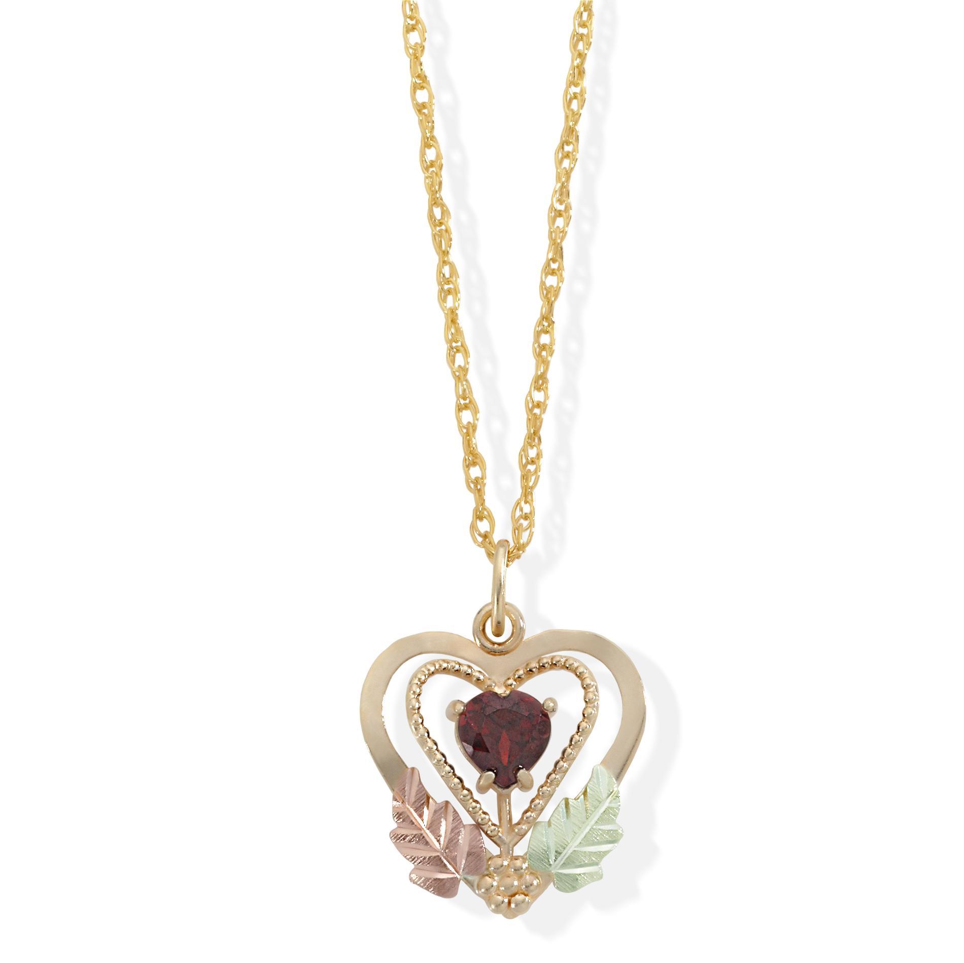 Black Hills Gold Garnet 10K Bicolor Heart Pendant