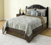 Colormate 6-Piece Blue and Brown Filmore Jacquard Bedding ...