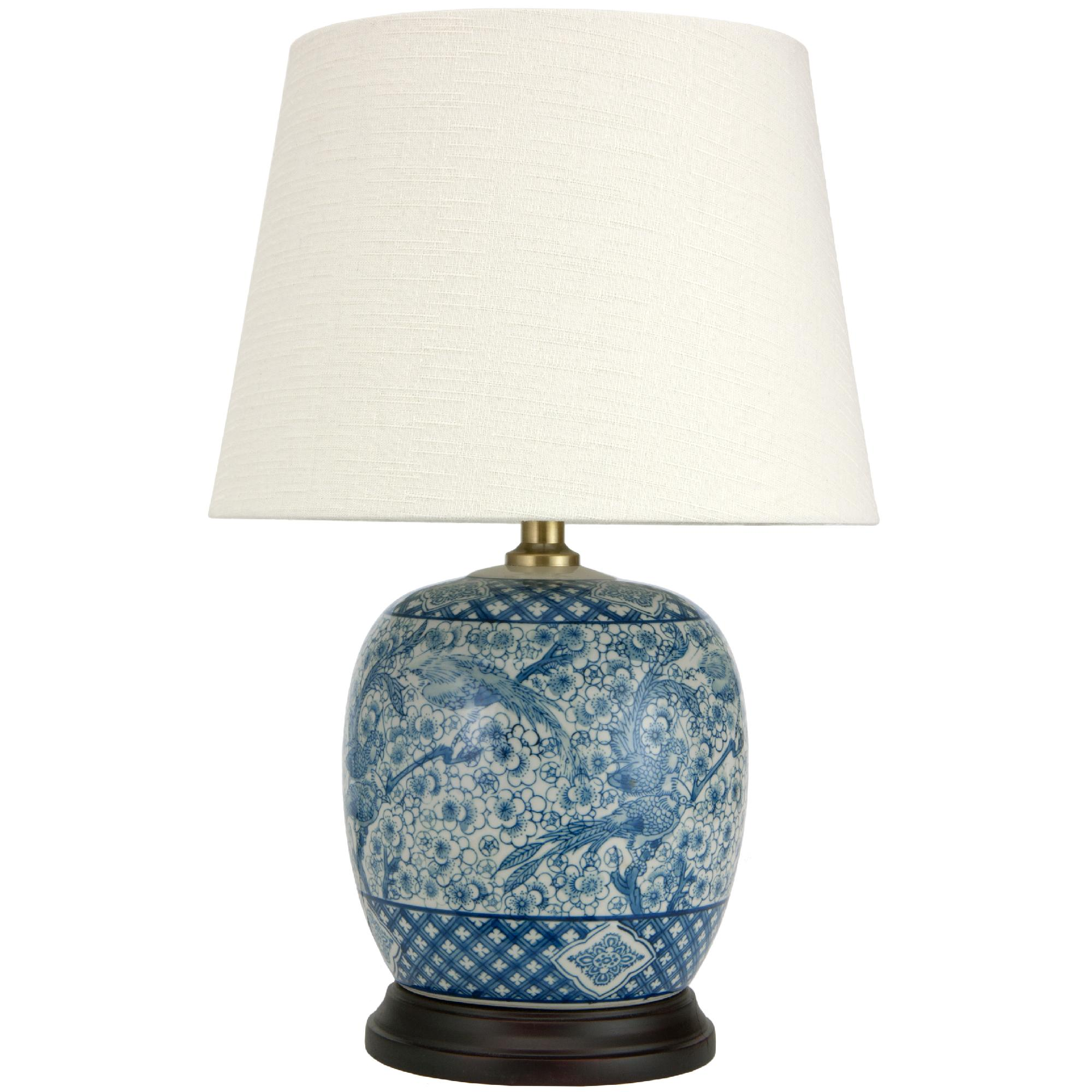 Oriental Furniture Blue & White Porcelain Round Vase Lamp