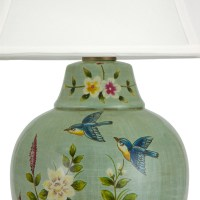 "Oriental Furniture 24"" Birds and Flowers Porcelain Jar Lamp"