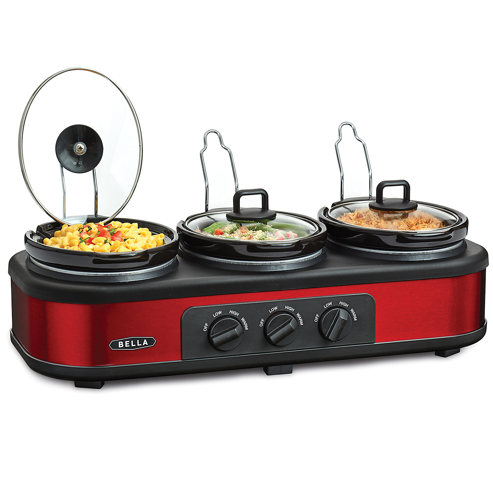 Bella 13698 Red And Black Triple Slow Cooker Buffet