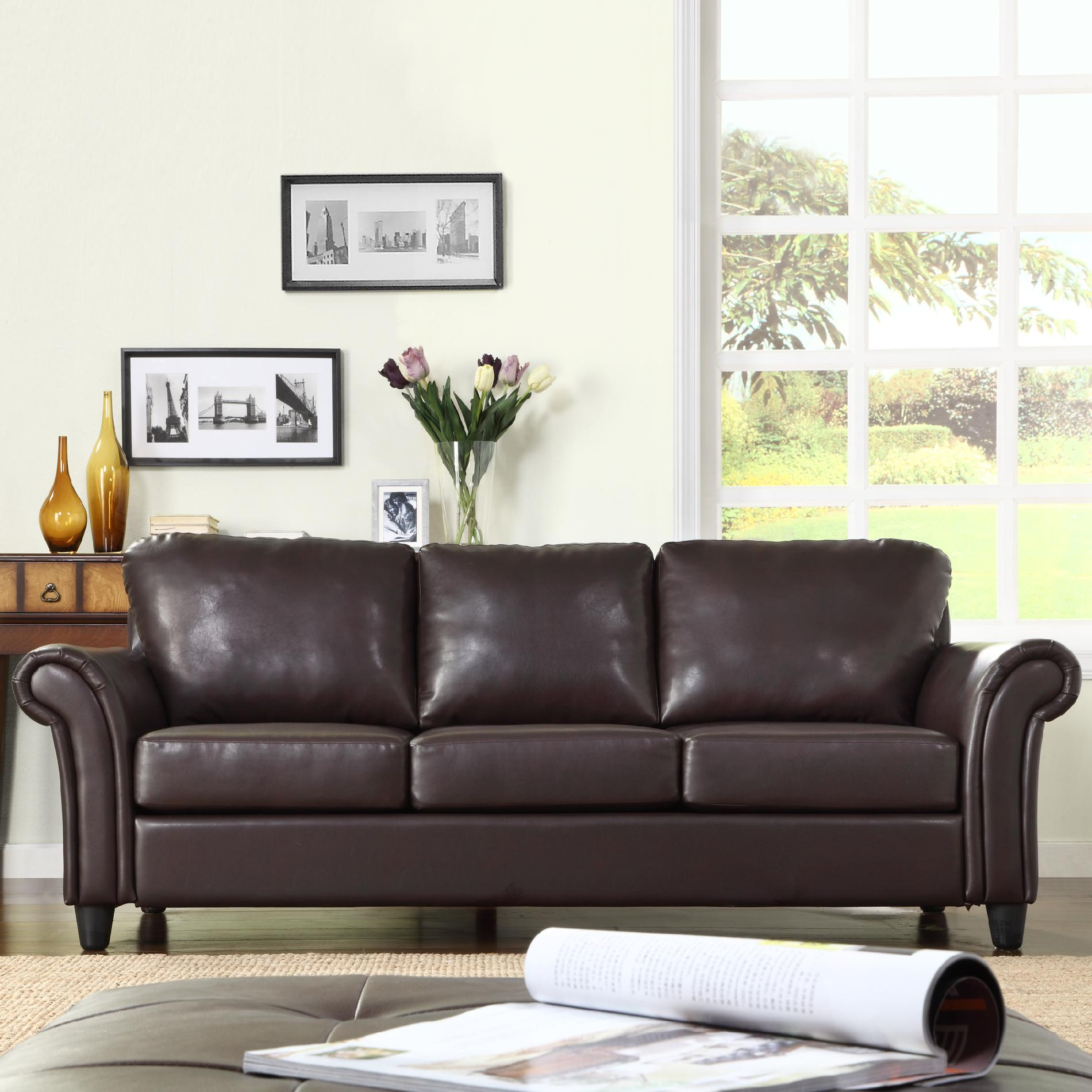 tosh furniture dark brown sofa set sofas etc towson md oxford creek contemporary in faux leather