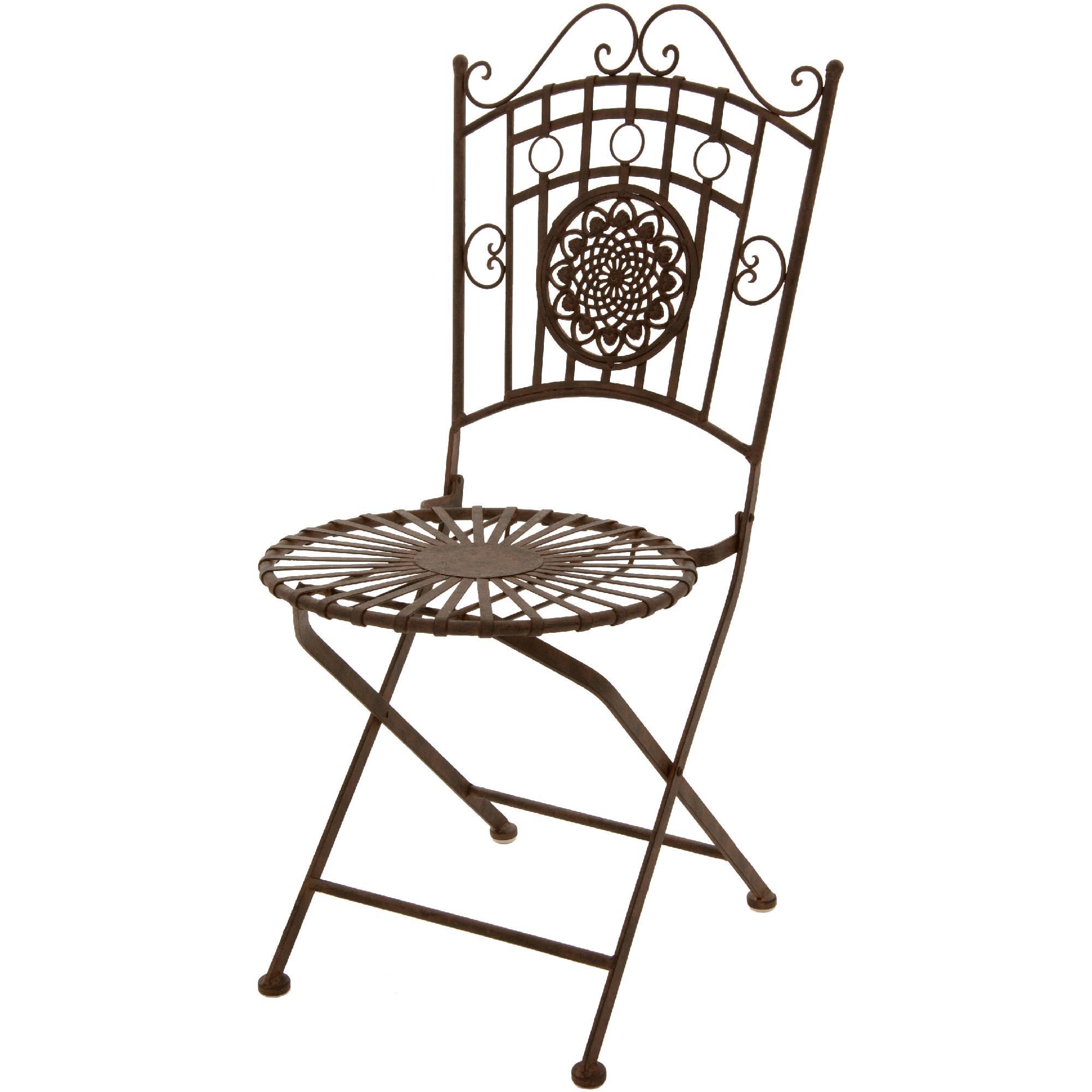 Oriental Furniture Wrought Iron Garden Chair  Rust Patina