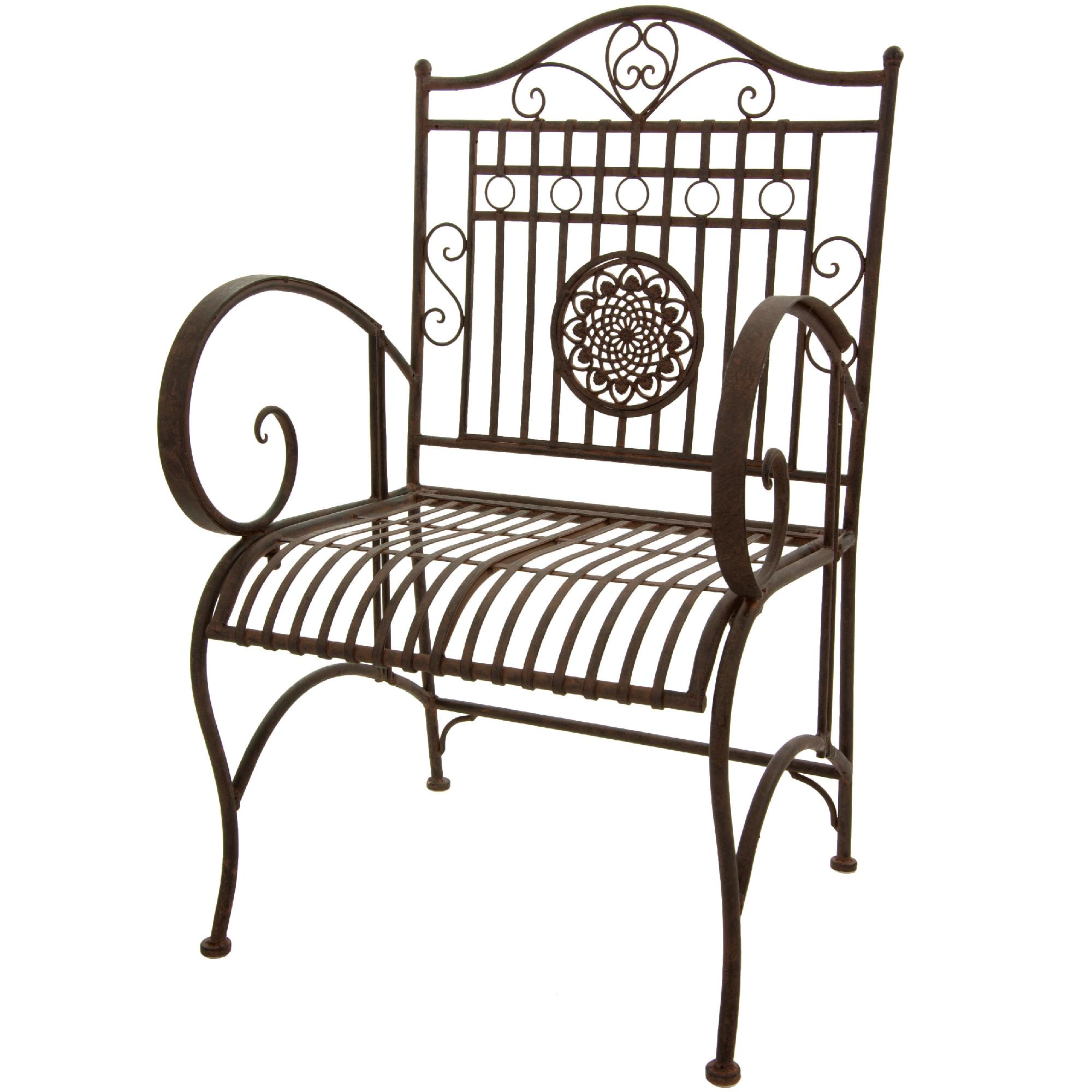 Oriental Furniture Rustic Wrought Iron Garden Chair  Rust