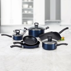Kitchen Cookware Sets How To Build Your Own Island T Fal 10 Pc Stainless Steel Non Stick Set Banquet Blue