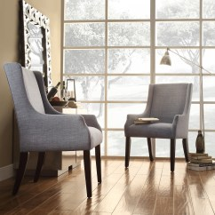 Dining Wingback Chairs Stool Chair For Standing Desk Oxford Creek Madison Blue Linen Hostess Arm