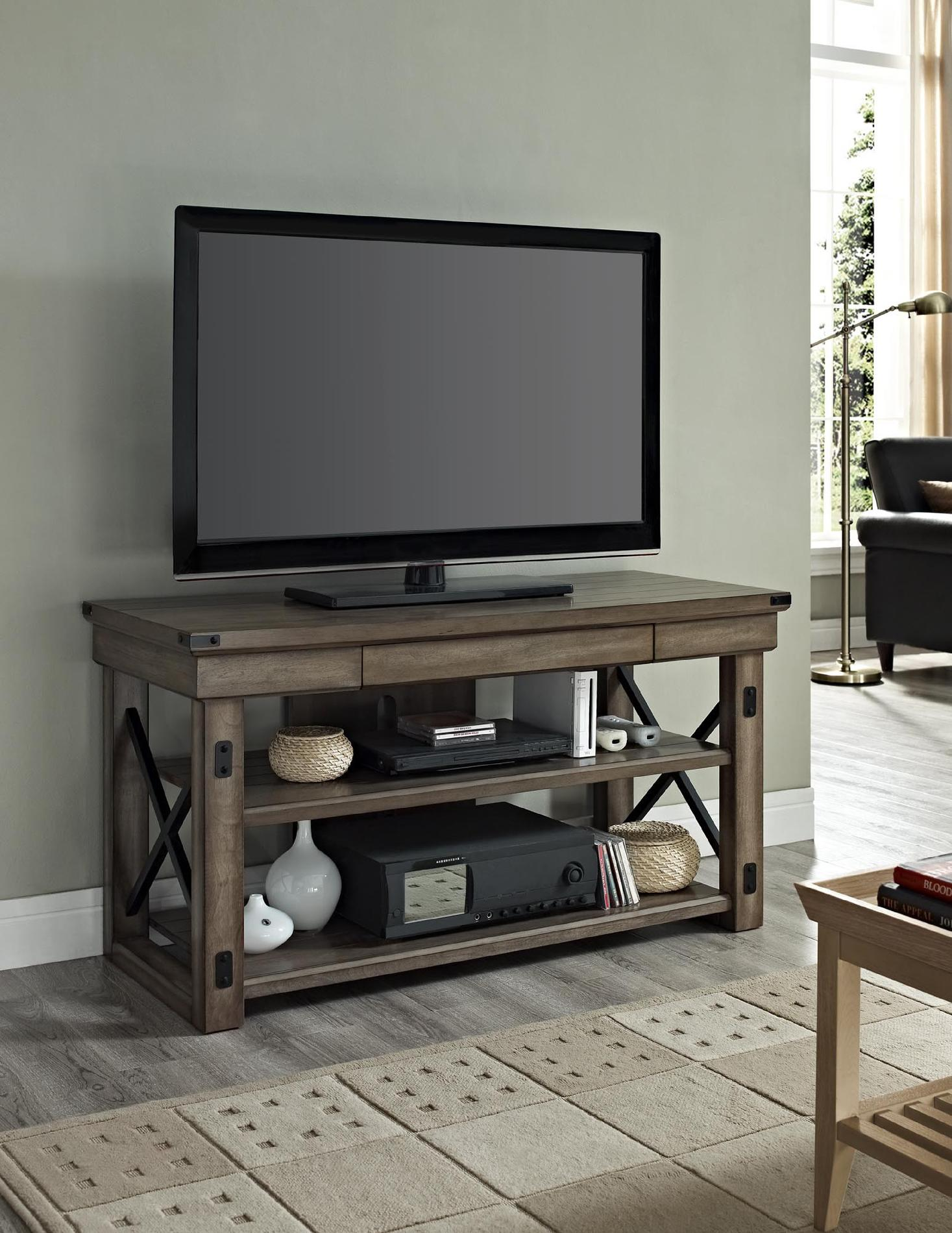 Dorel Home Furnishings Wildwood Rustic Gray TV Console