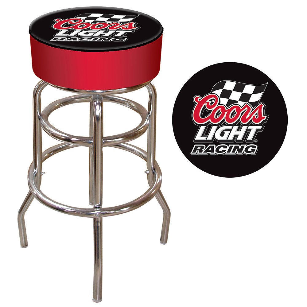 Coors Light Racing Logo Padded Bar Stool - In Usa