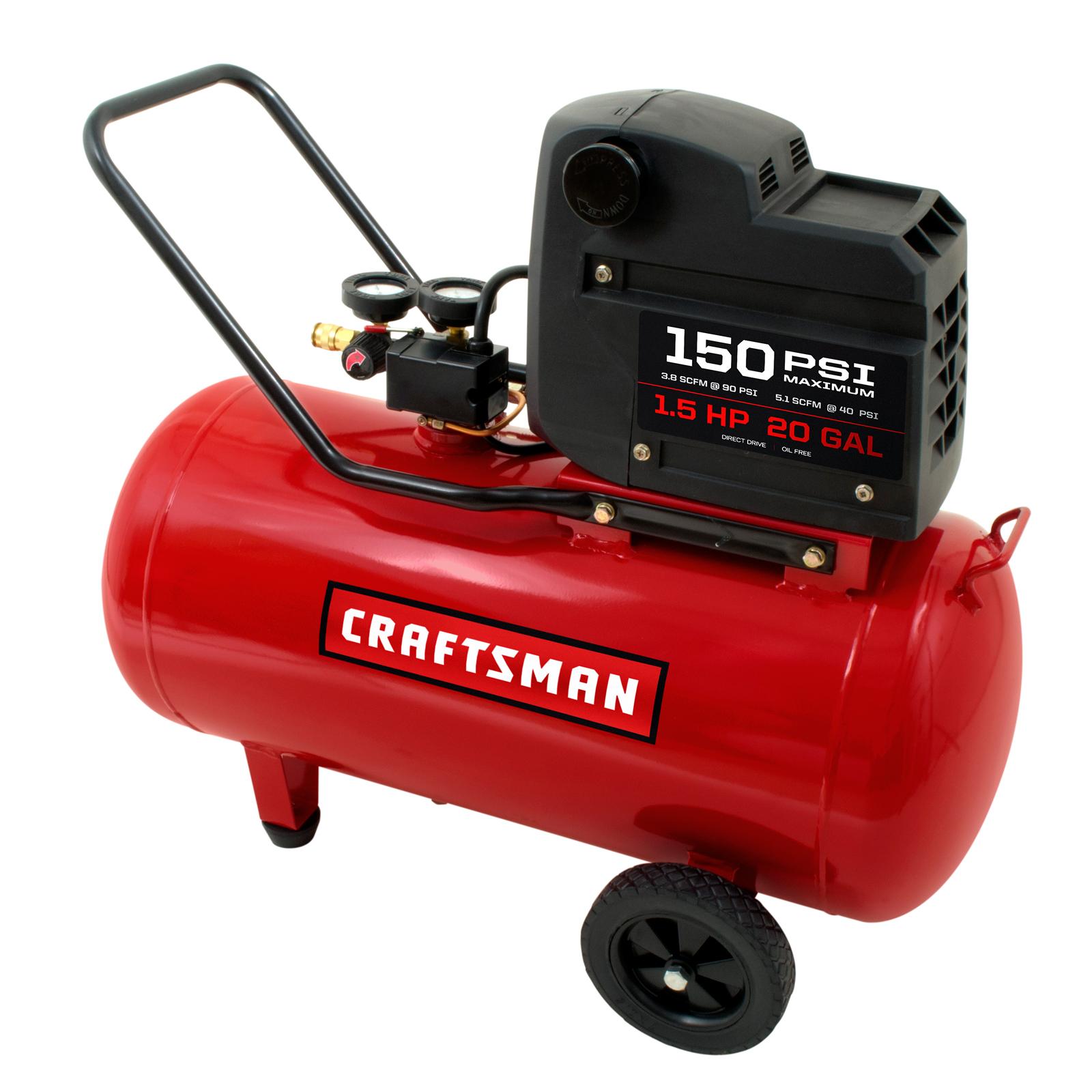 Craftsman 20 Gallon 1.5 Hp Oil-free Portable Horizontal