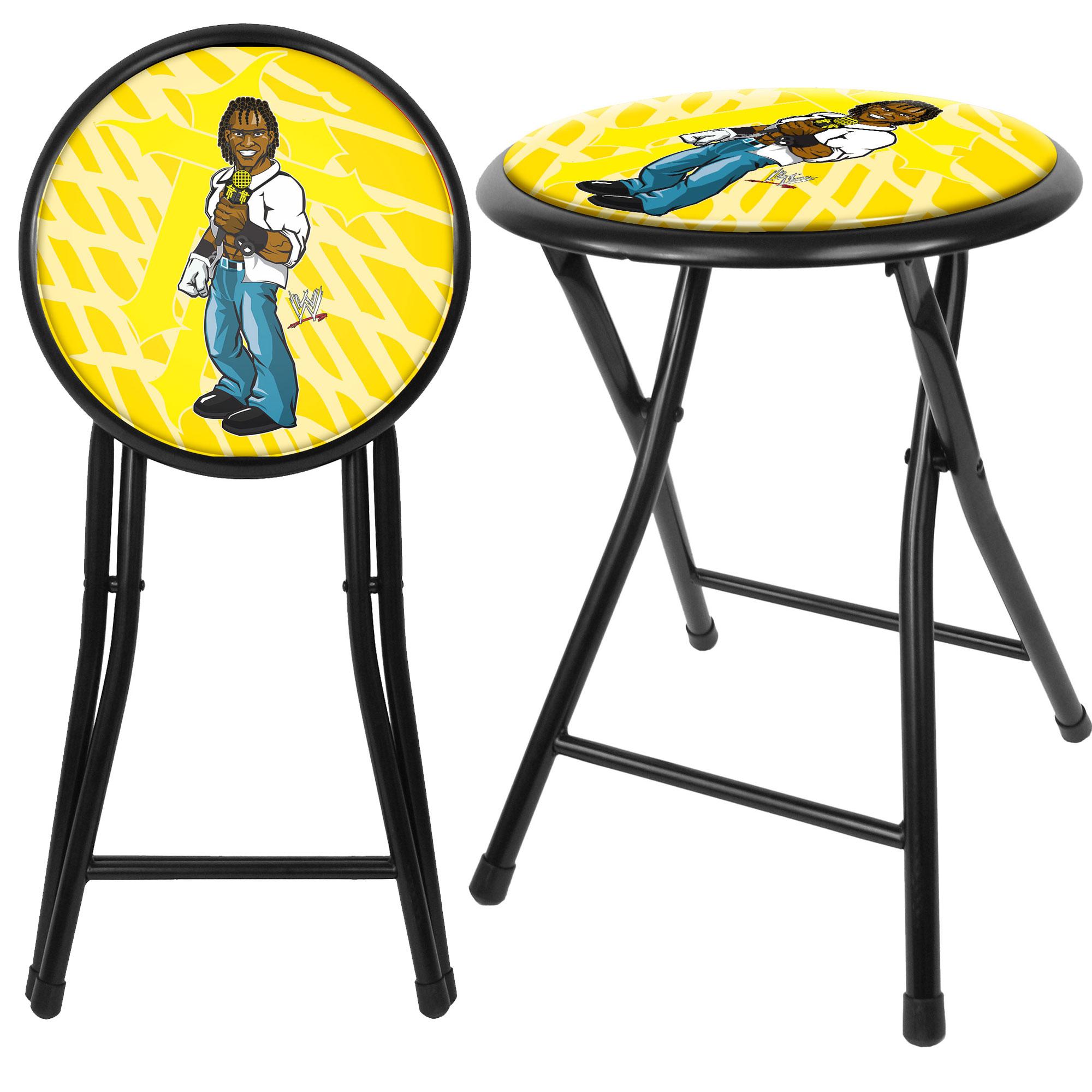 steel chair in wwe wicker seat pad trademark global kids r truth 18 inch folding stool