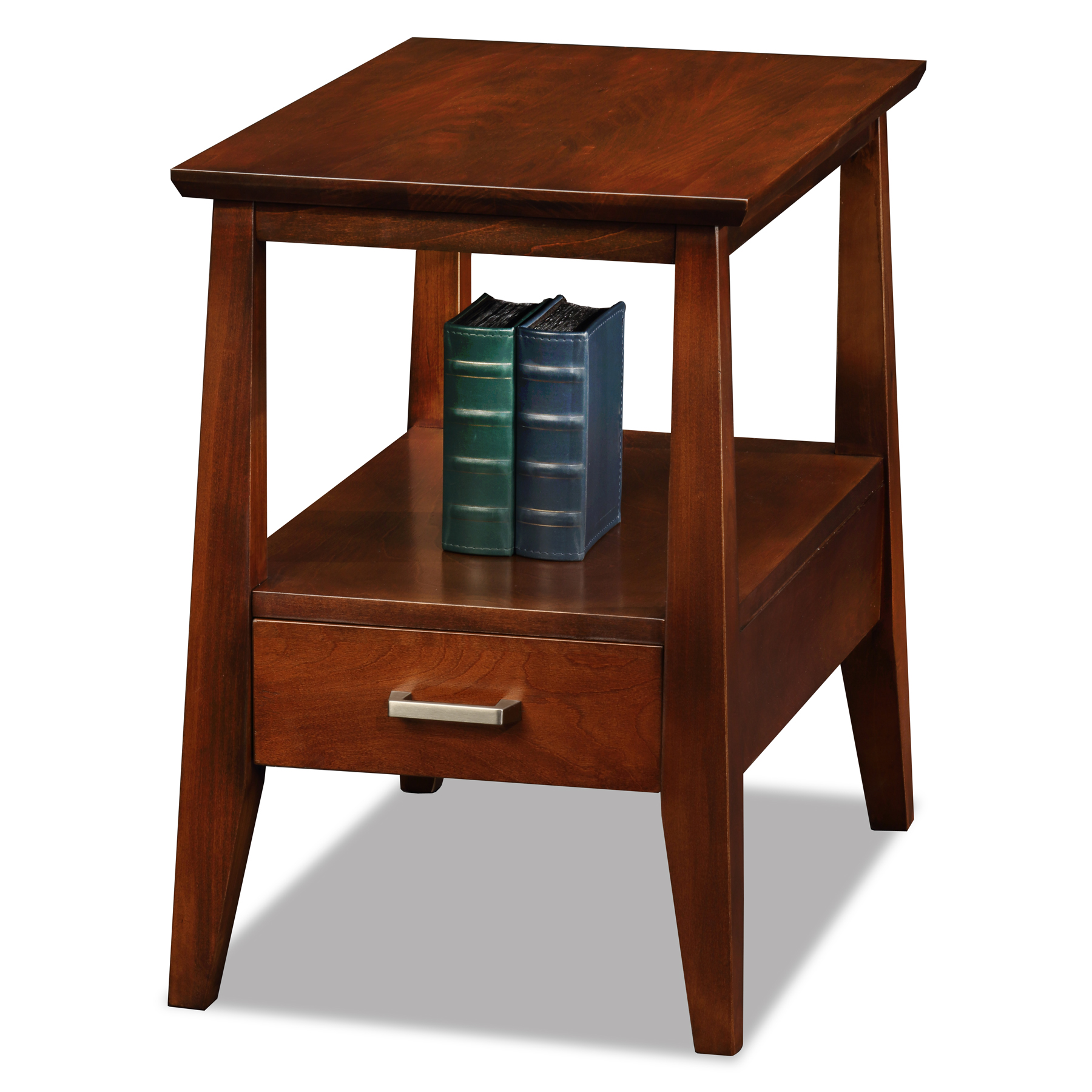 Leick Delton Storage Chairside Solid Wood End Table With Drawer